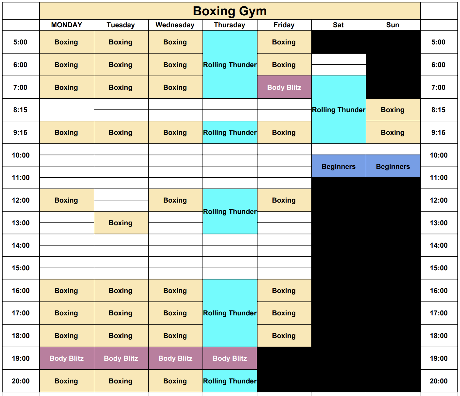 March 2019 – New Classes and an Updated Timetable