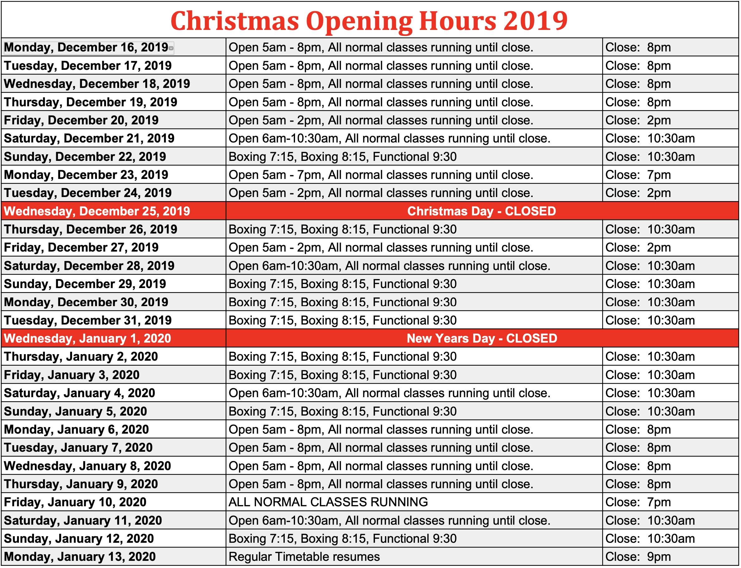 Christmas Opening Hours, 2019