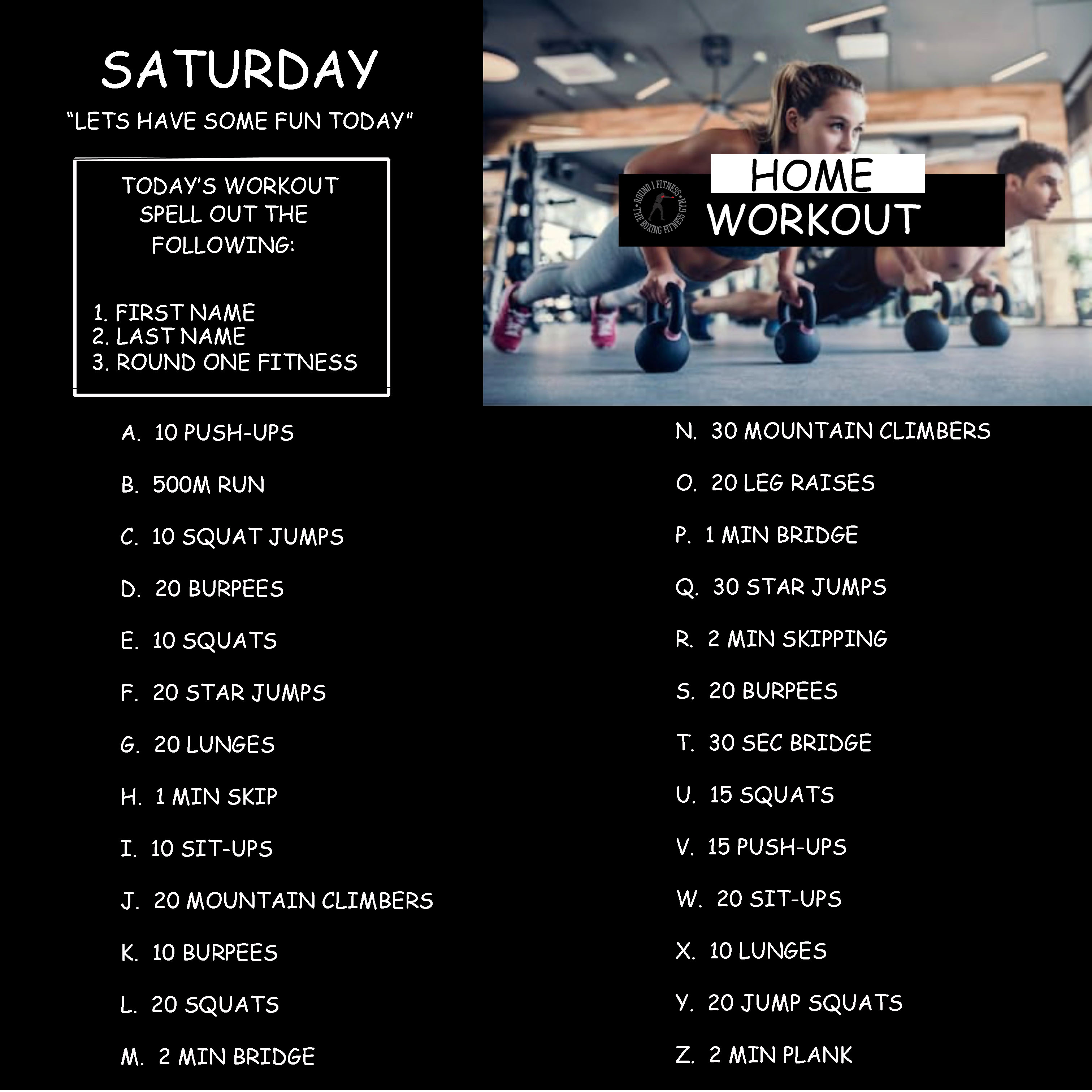 Home Workout:  Saturday, March 28th