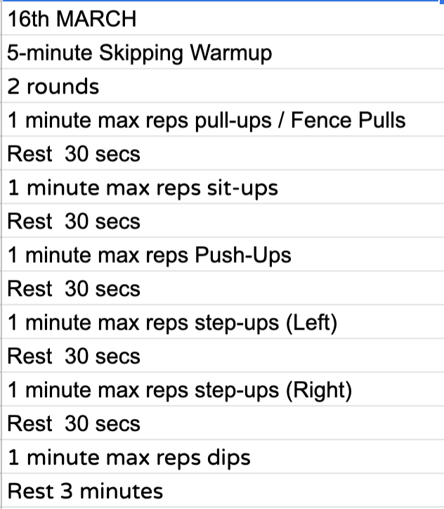Home Workout:  Monday, 16th March