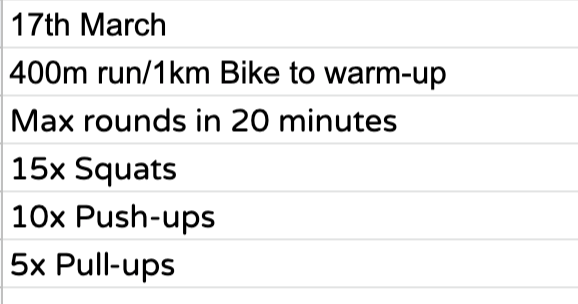 Home Workout:  Tuesday, 17th March
