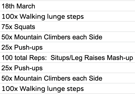 Home Workout:  Wednesday, 18th March