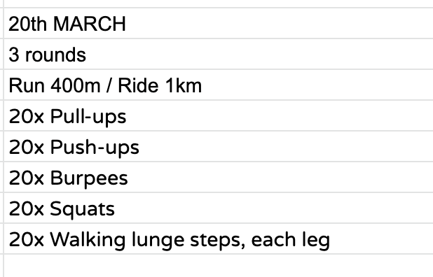 Home Workout:  Friday, March 20th