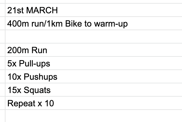 Home Workout:  Saturday, March 21st