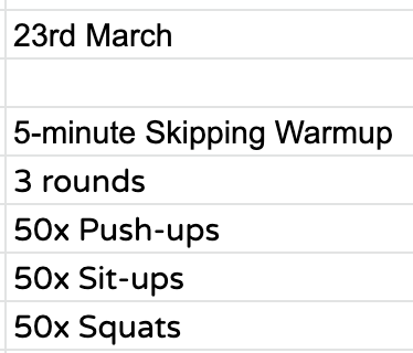 Home Workout:  Monday, March 23nd