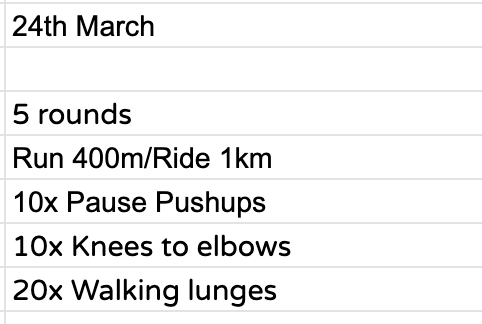 Home Workout:  Tuesday, March 24th