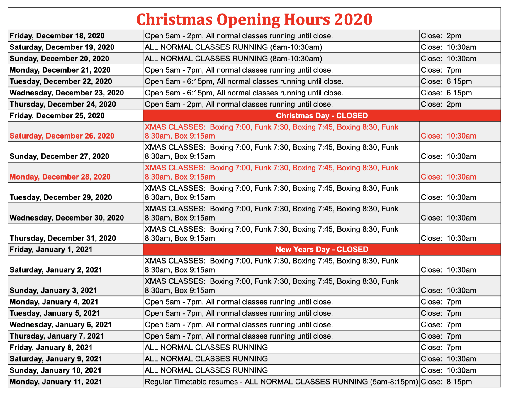 Christmas Opening Hours – 2020